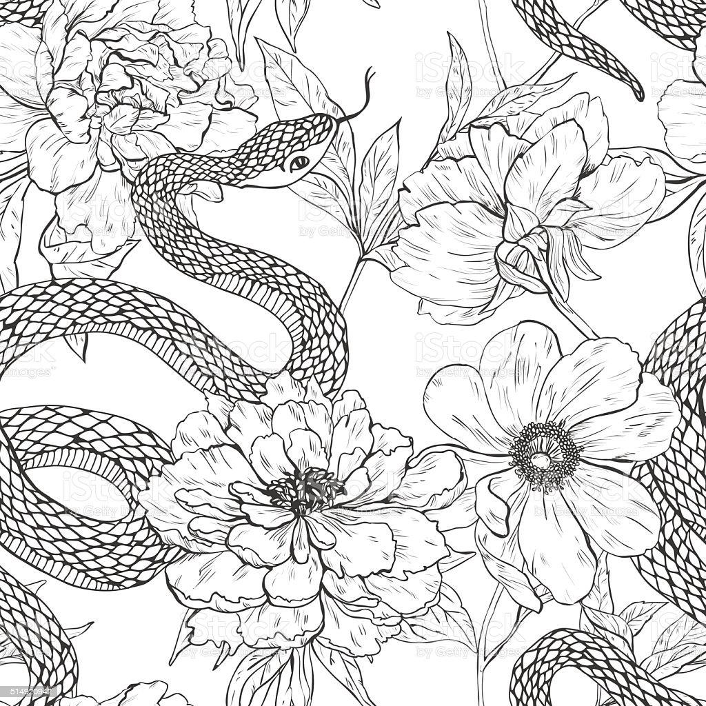 Змея с цветком