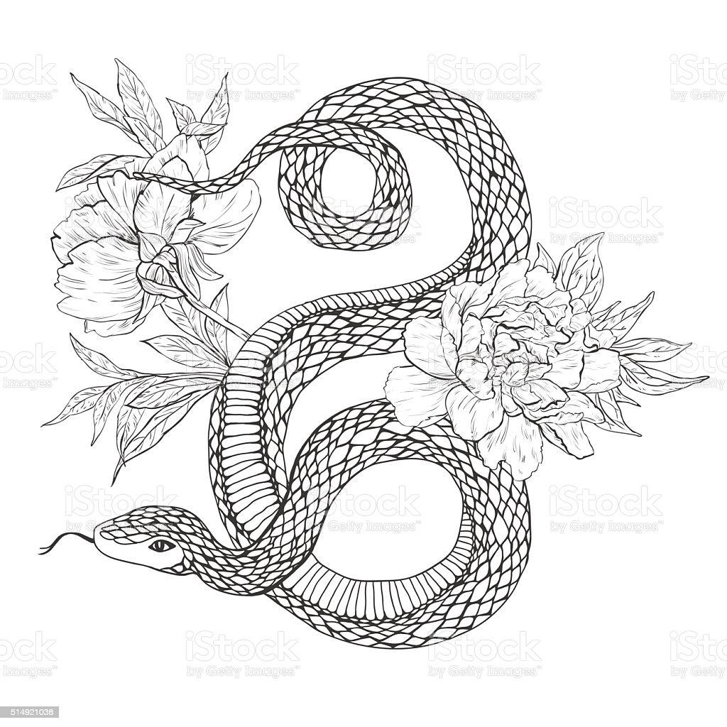 Serpenti E Fiori Arte Del Tatuaggio Libri Da Colorare Immagini
