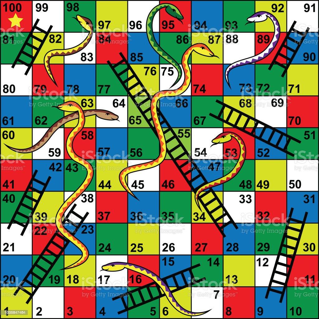Ilustracion De Serpientes Y Escaleras Juego De Mesa Serpientes