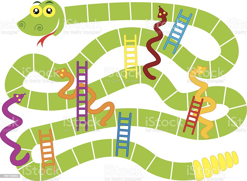 Snakes And Ladders Board Game Stock Illustration ...