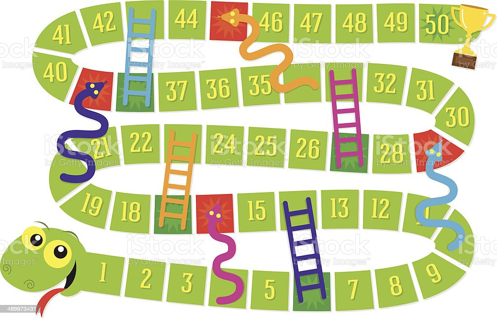 Snakes And Ladders Board Game Stock Vector Art 489973431