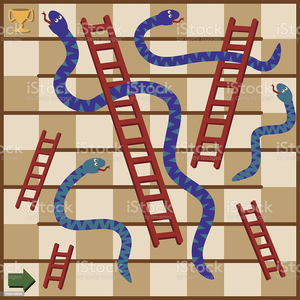 Snakes and Ladders Boardgame royalty-free stock vector art