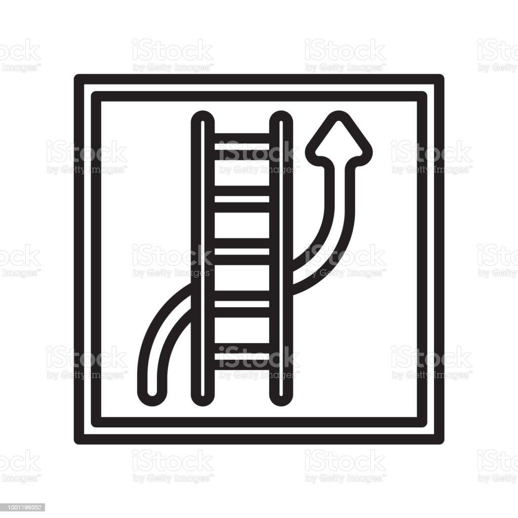 Serpientes y escaleras icono vector de señal y símbolo aisladas sobre fondo blanco - ilustración de arte vectorial