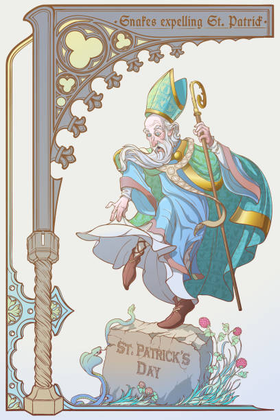 snakes expelling st. patrick from ireland. ironical illustration for the st. patric's day. - old man funny pictures stock illustrations