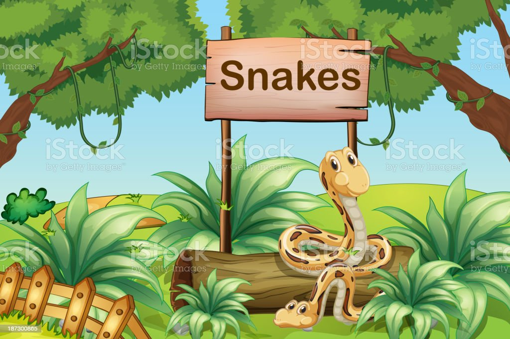 Snakes in the hills beside a wooden signboard royalty-free stock vector art