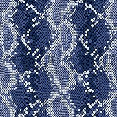 Snakeskin seamless vector pattern in indigo blue.