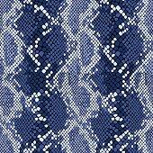 Snakeskin seamless vector pattern in indigo blue.