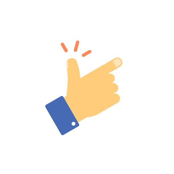illustrazioni stock, clip art, cartoni animati e icone di tendenza di snap fingers vector icon, flat cartoon snapping thumbs gesture symbol isolated on white, finger click signal clipart - facilità