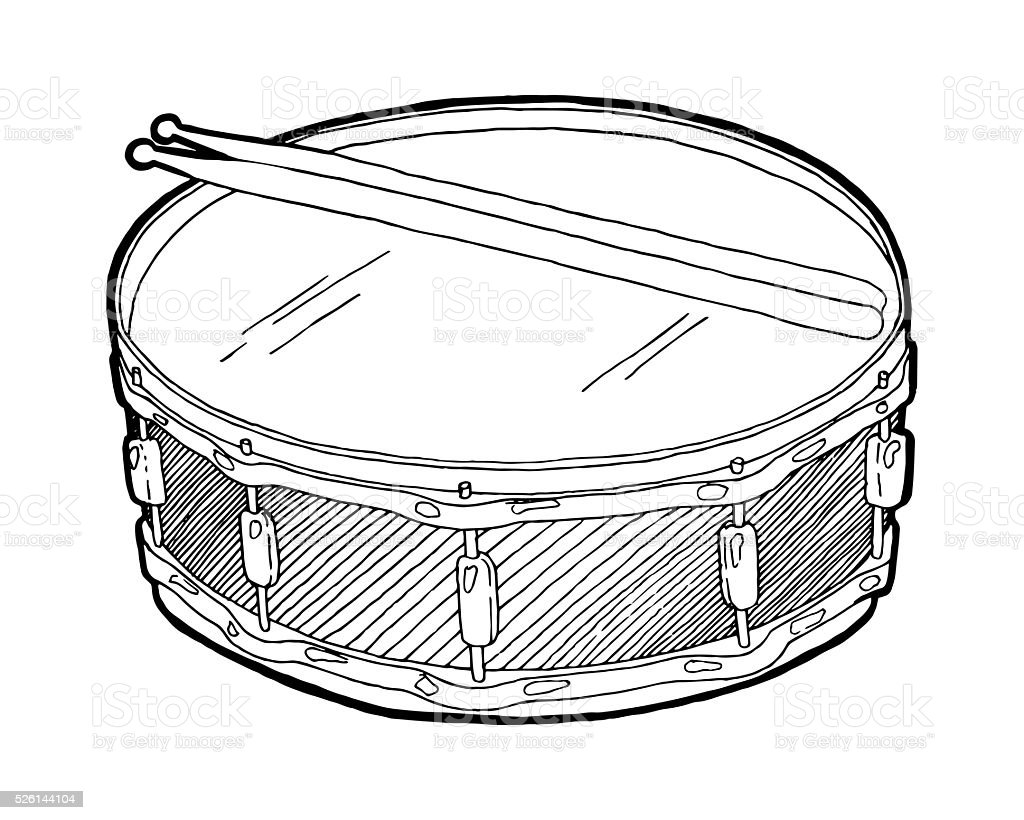 Snare Drum And Sticks Sketch Drawing Isolated On White Background ...