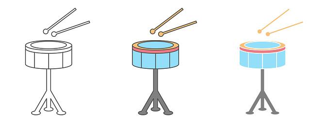snare drum design vector. clipart cartoon illustration. black and white outline element