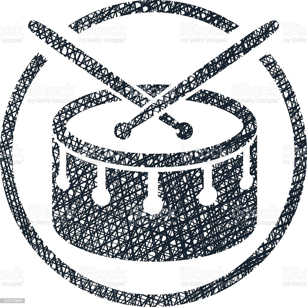 Tarol musical ícone de vetor com textura desenhada à mão. - ilustração de arte em vetor