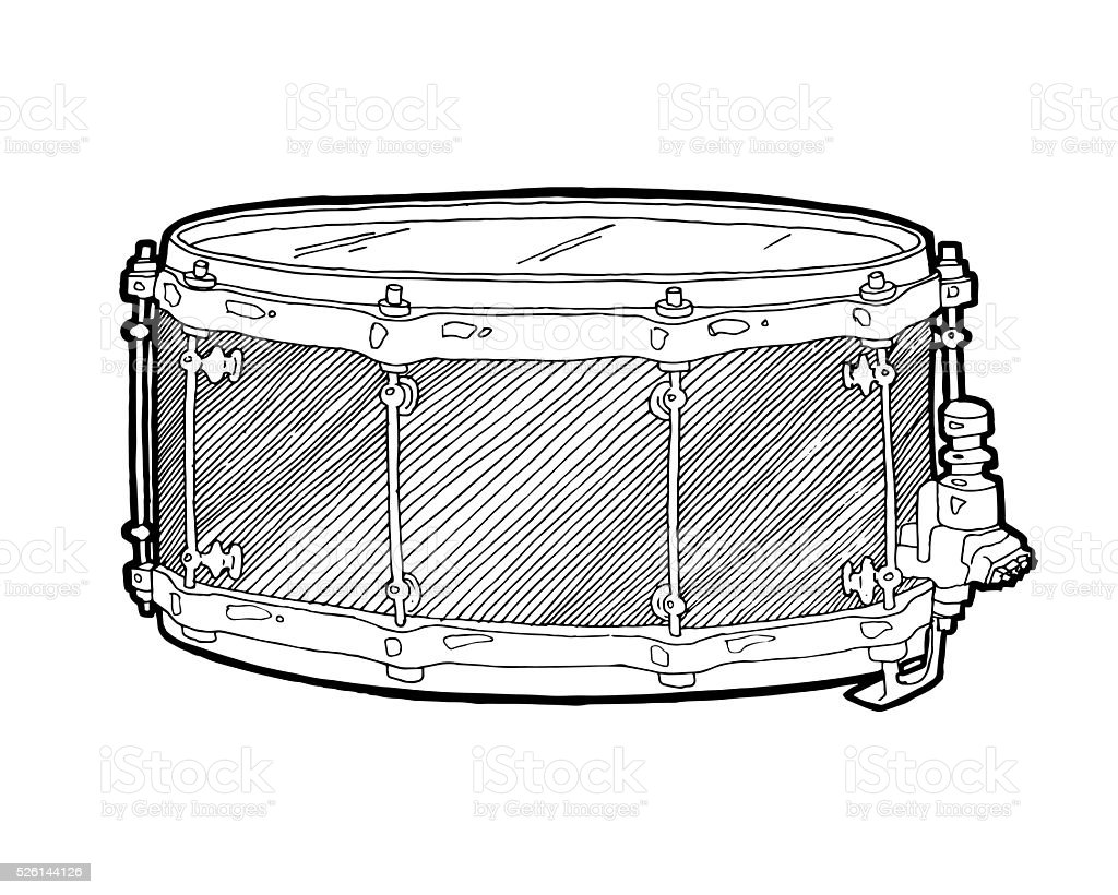 Snare Drum Sketch Drawing Isolated On White Background Stock Vector ...