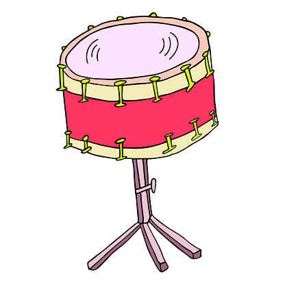 Snare drum vector illustration. Bass drum standing on a tripod isolated on white background hand drawn sketch.