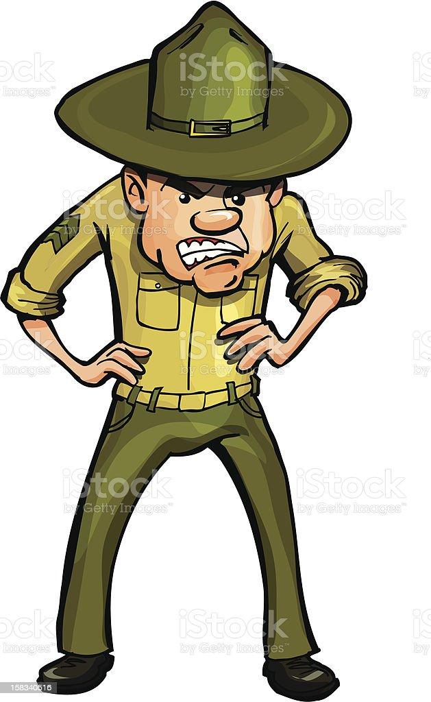 Snarling Cartoon Drill Sargent royalty-free stock vector art