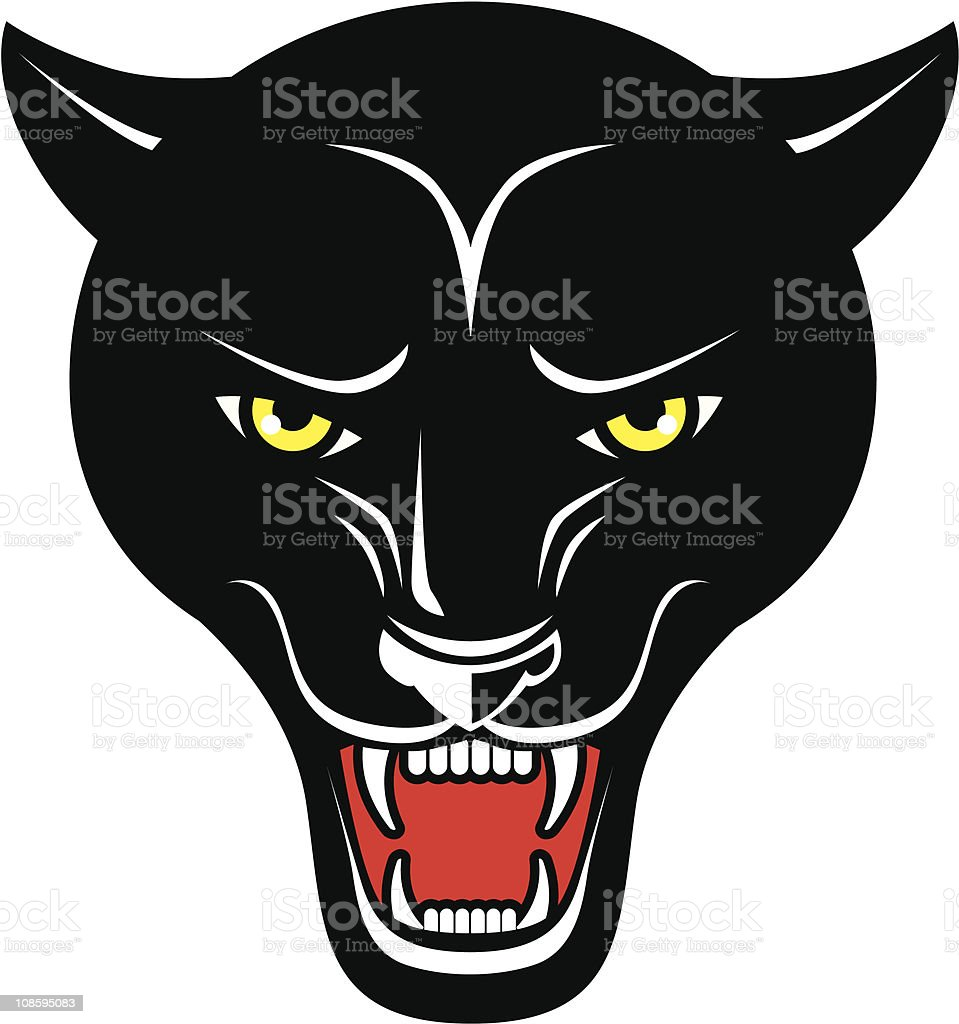 Snarling Panther vector art illustration