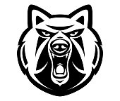 vector illustration of of snarling wolf mascot