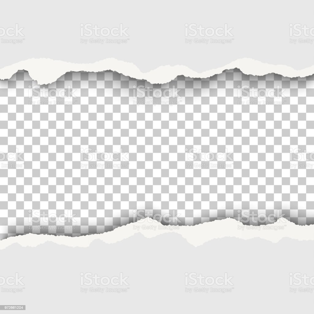Snatched hole with torn edges in white sheet of paper. Transparent checkered background of the resulting window.Template design. vector art illustration
