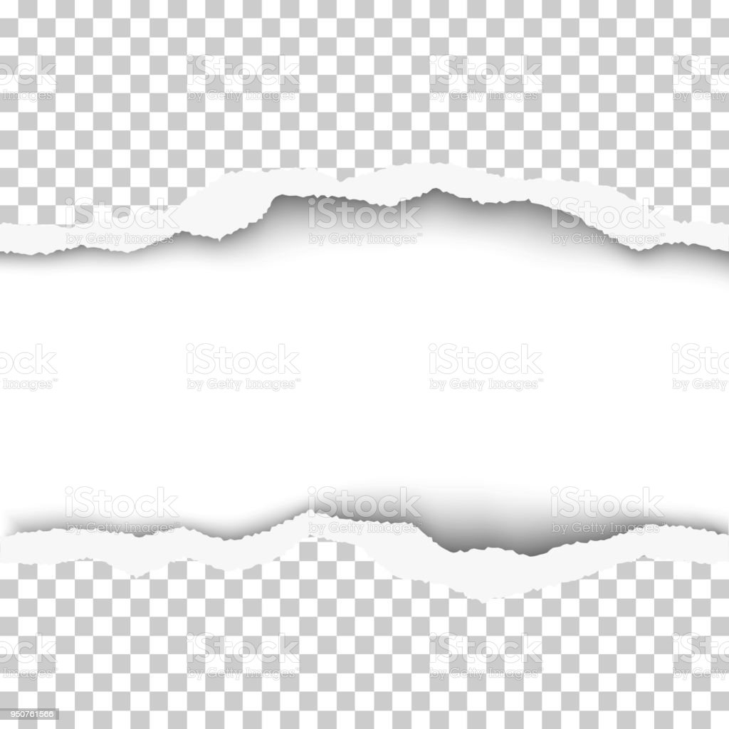 snatched middle of transparent paper background with torn edges and