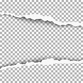 Snatched middle of transparent paper with torn edges and soft shadow. Damaged sheet of paper for banner, ad and other aims. Vector template paper design.