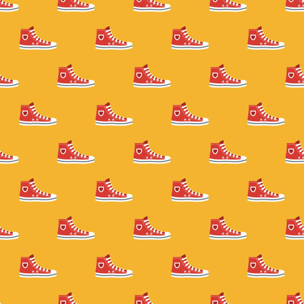 sneaker kleidung & accessoires muster - schuhe für sport und freizeit stock-grafiken, -clipart, -cartoons und -symbole