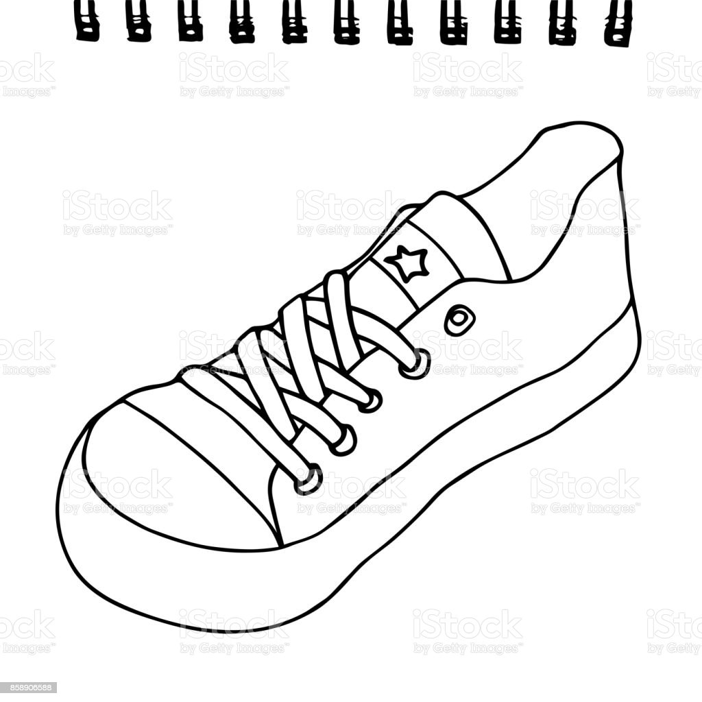 Sneaker on a sketchpad paper. Artistic vector hand drawn sketch. Isolated on white background. vector art illustration