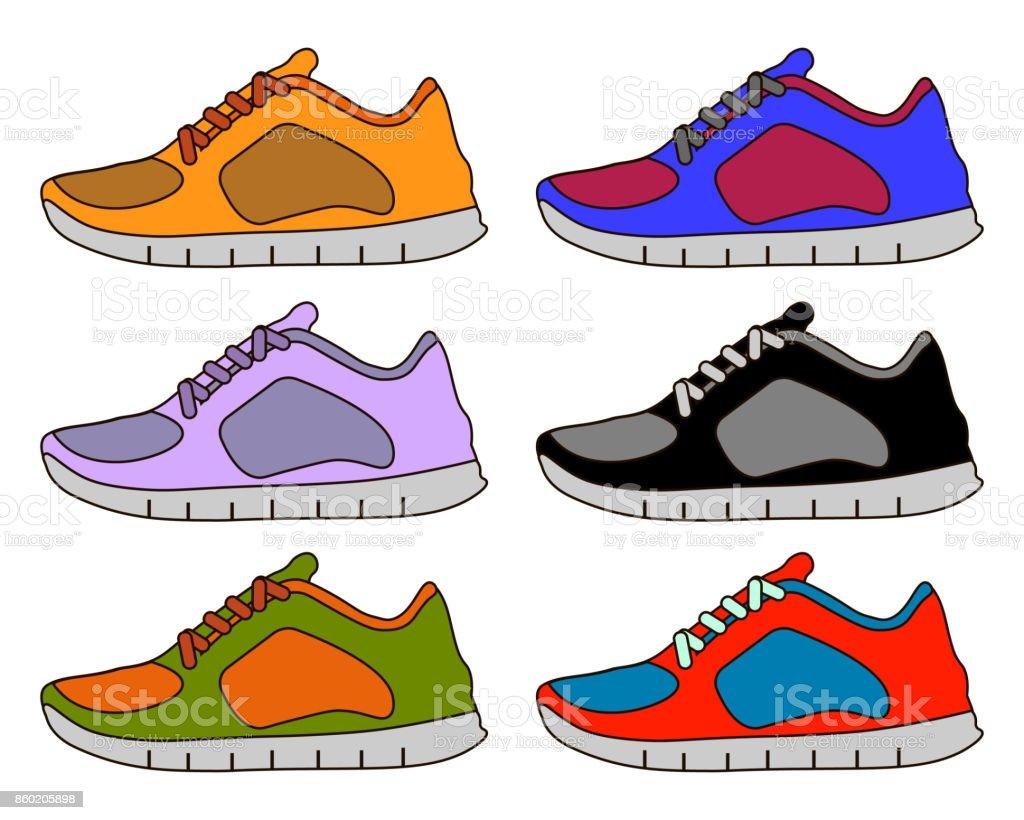 Sneaker Schuh Minimal Farbe Flache Linie Schlaganfall Symbol