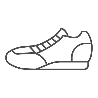 Sneaker thin line icon, sport concept, Running shoe symbol on white background, fitness sneakers icon in outline style for mobile concept and web design. Vector graphics.