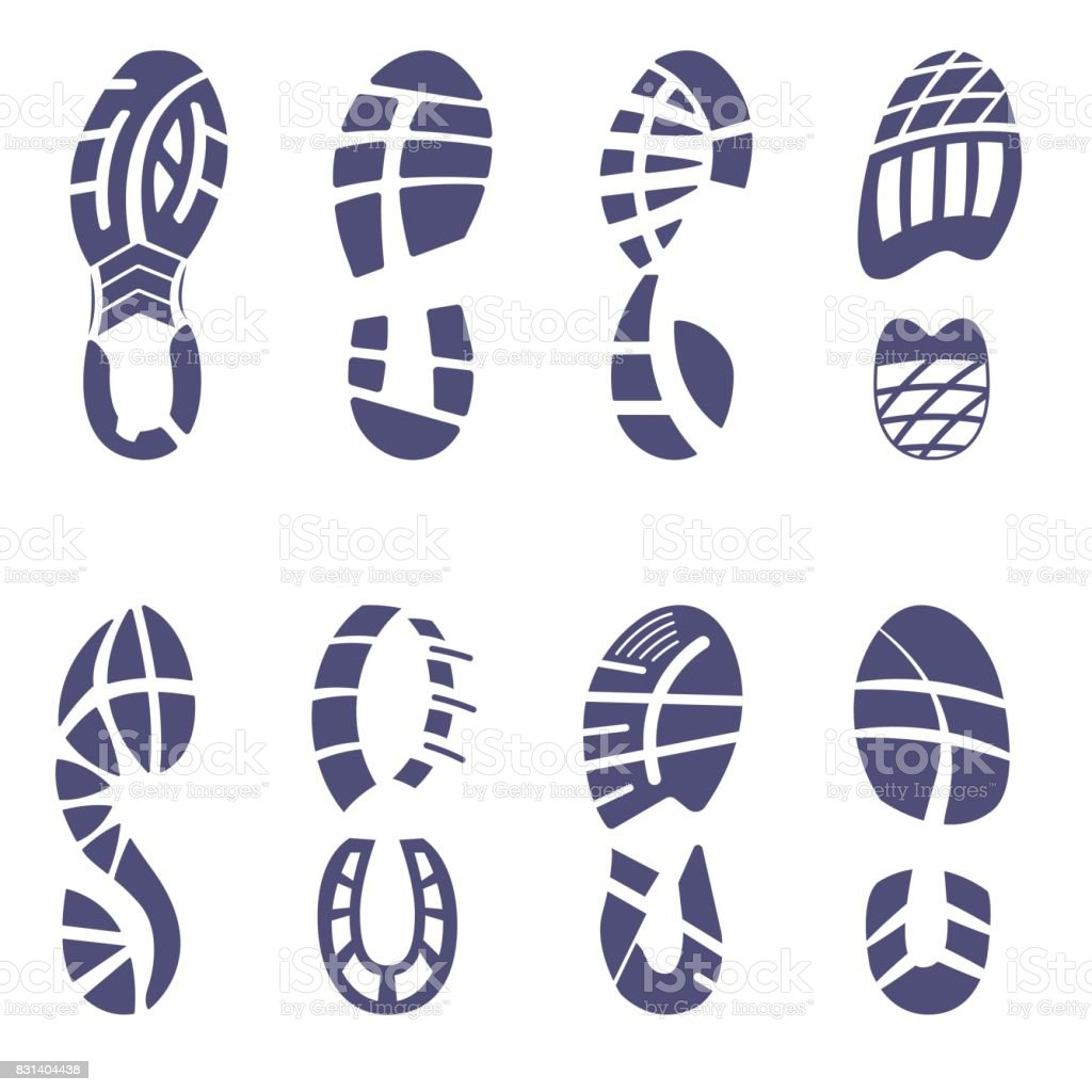 Sneaker tread set vector art illustration