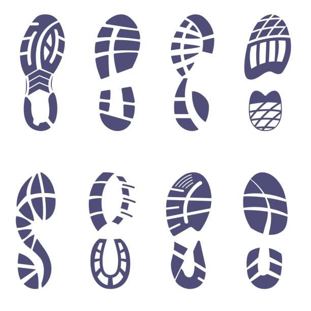 sneaker tread set - оттиск stock illustrations