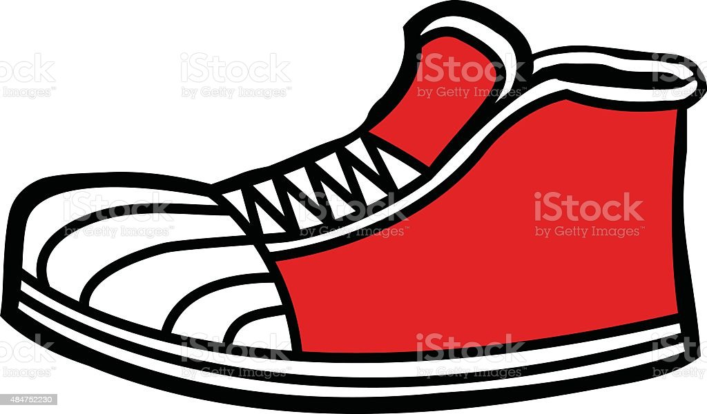 royalty free red sneakers clip art vector images illustrations rh istockphoto com sneaker clip art printable speaker clipart png