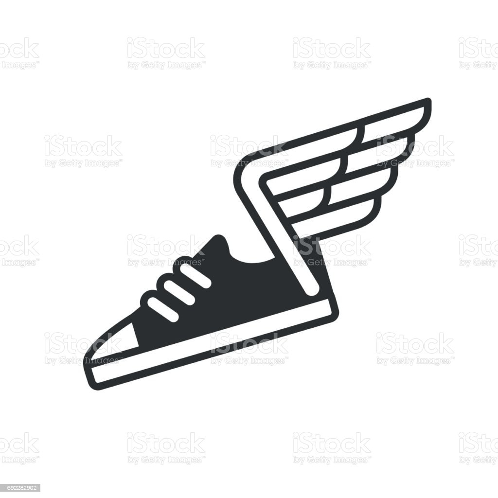 Sneaker with wings icon vector art illustration