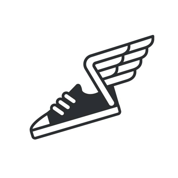 sneaker with wings icon - animal limb stock illustrations