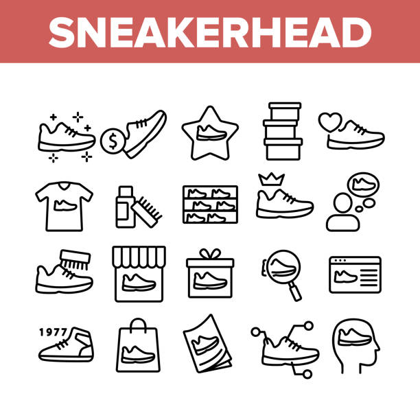Sneakerhead Footwear Collection Icons Set Vector Sneakerhead Footwear Collection Icons Set Vector. Sneakerhead In Gift Box And Bag, Cleaning Brush And Cream, Online Shopping And Store Concept Linear Pictograms. Monochrome Contour Illustrations shoe stock illustrations