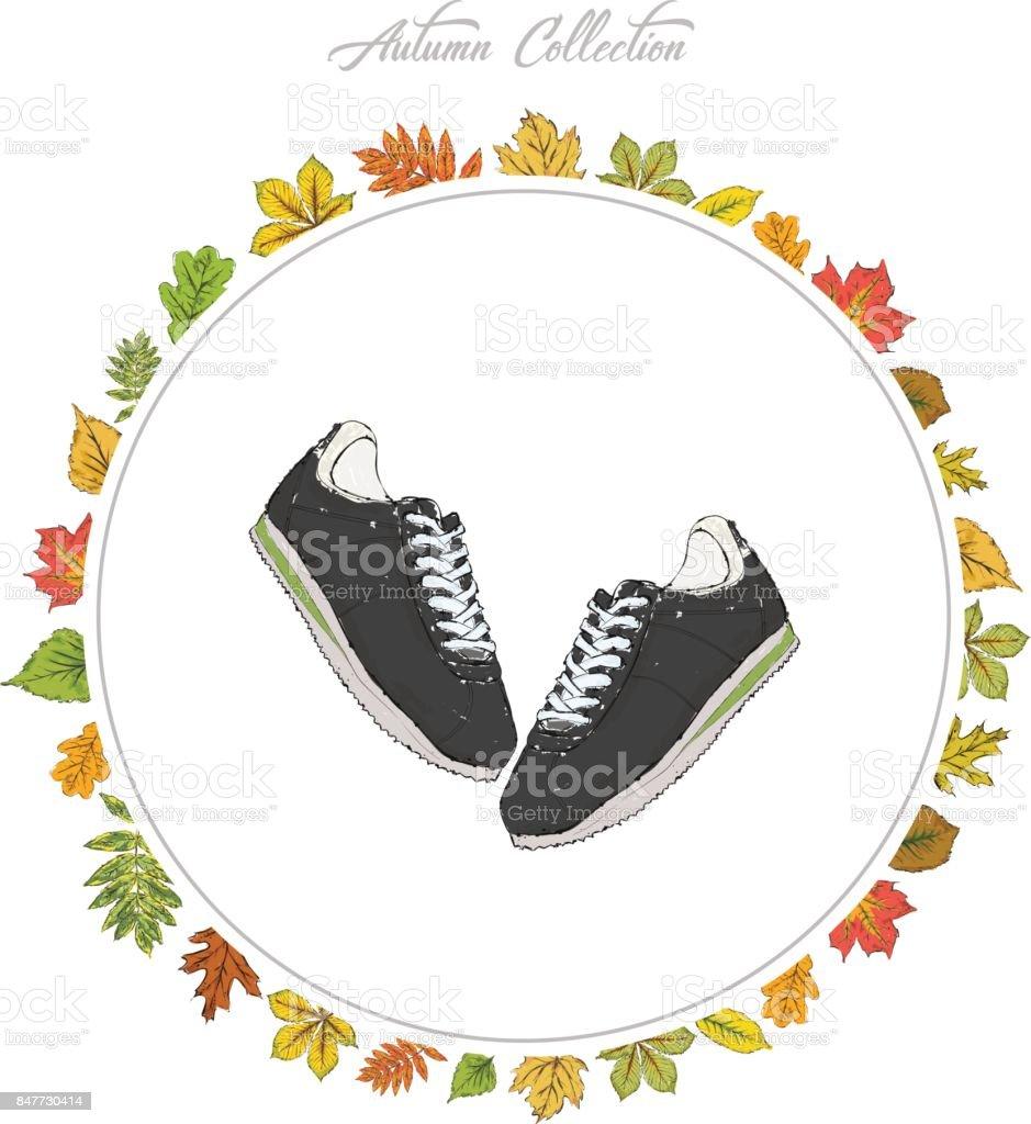 Turnschuhe Hand Zu Ziehen Schuhe Herbstkollektion Rahmen Der Blätter ...