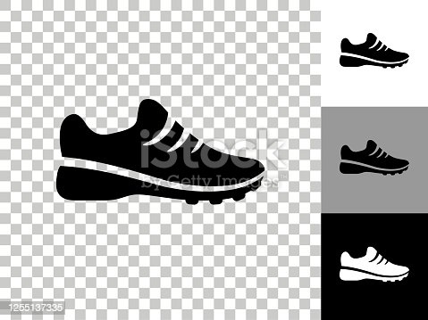 istock Sneakers Icon on Checkerboard Transparent Background 1255137335