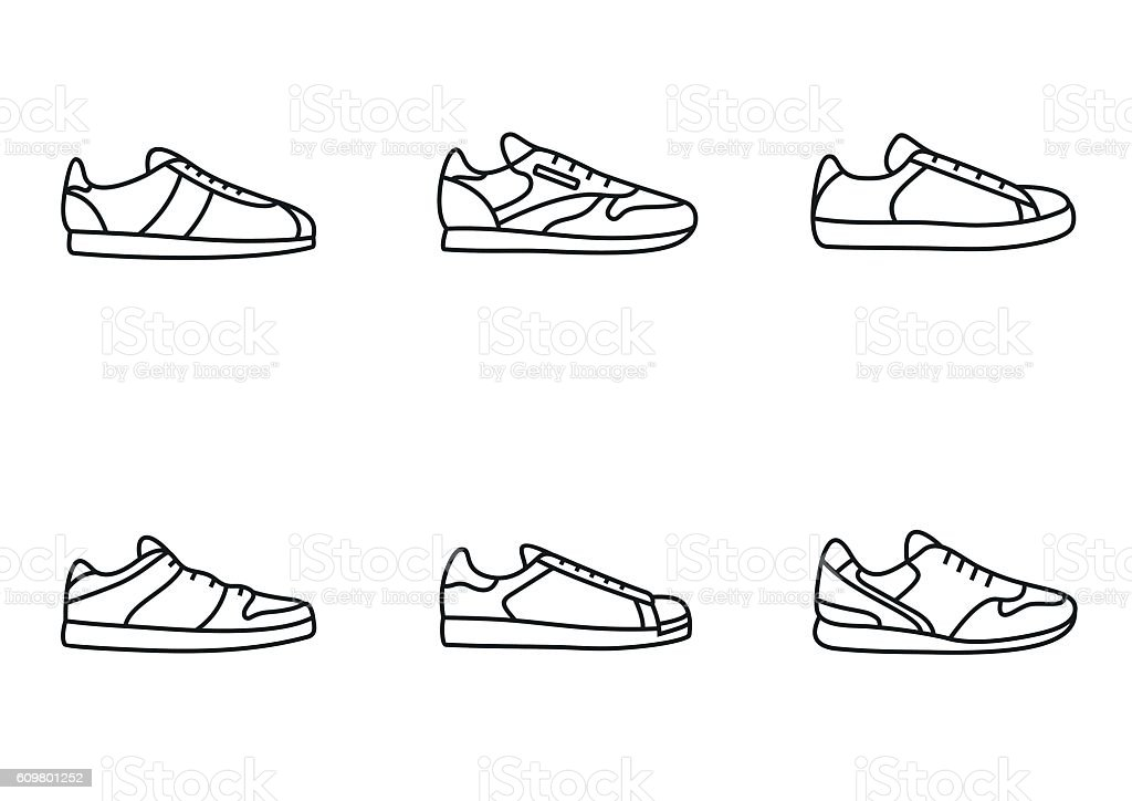 Sneakers icon set vector art illustration