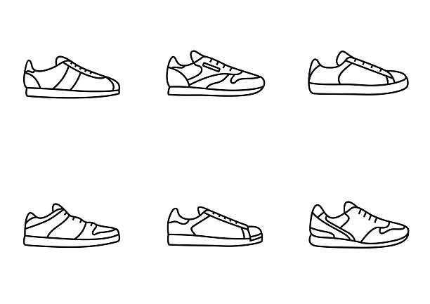 Sneakers icon set Sneakers icon set. Simple line art collection running shoes stock illustrations