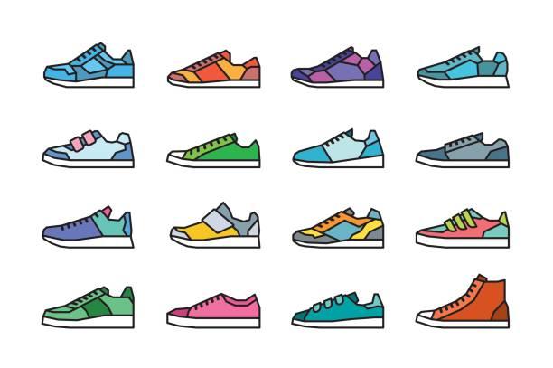ilustrações, clipart, desenhos animados e ícones de ícones do tênis - tênis