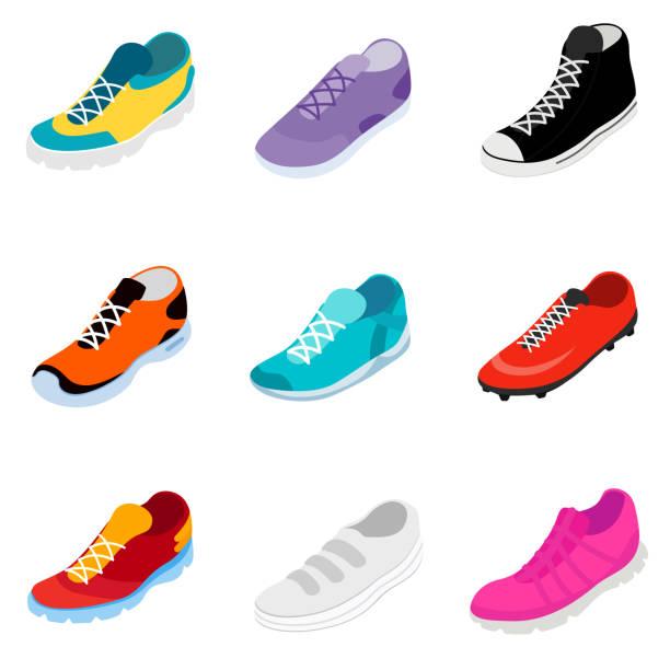 ilustrações, clipart, desenhos animados e ícones de conjunto de tênis. estilo isométrico - calçados