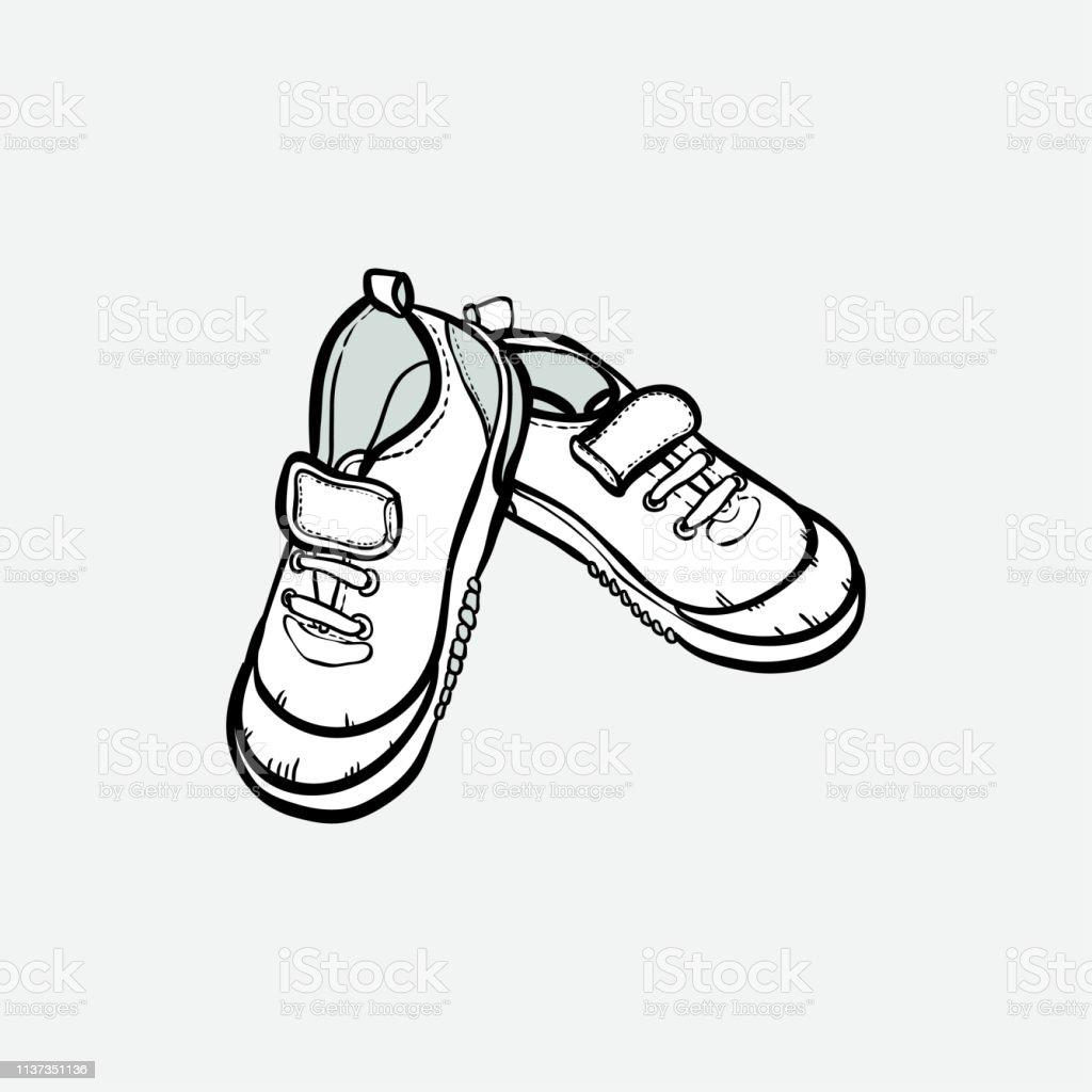Aisladas Vectorial Zapatillas Deportivas Ilustración Par De Dibujo mnyvN8w0O