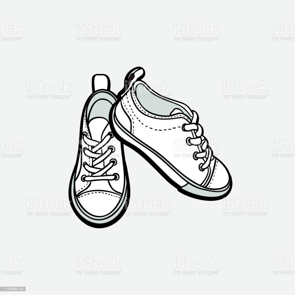 separation shoes a9069 e0d3c Sneakers Schuhe Paar Isoliert Handgezeichnete Vektordarstellung  Schwarzweißschuhe Sportstiefel Handgezeichnet Für Logo Plakat Postkarte  Modeheft Flyer ...