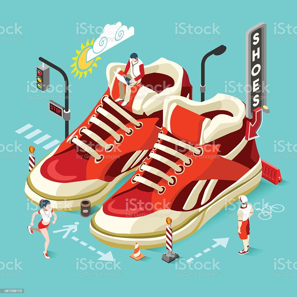 Sneakers Shop People Isometric vector art illustration
