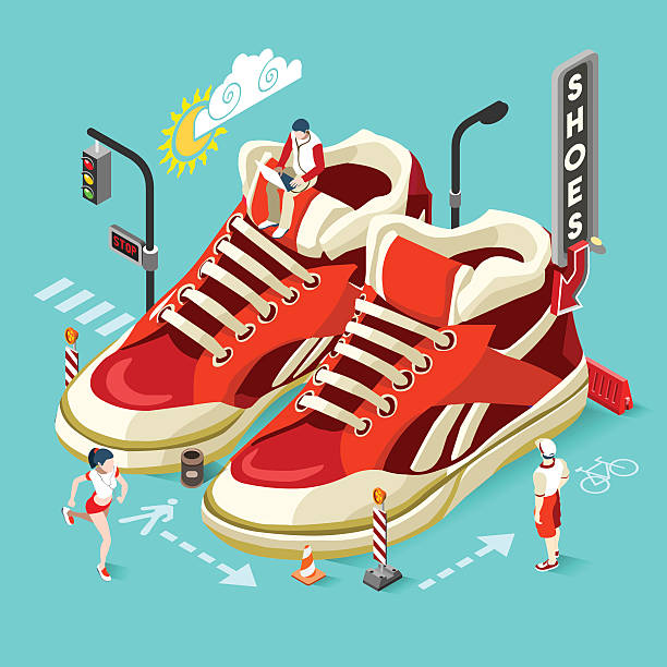sneakers shop people isometric - business casual fashion stock illustrations