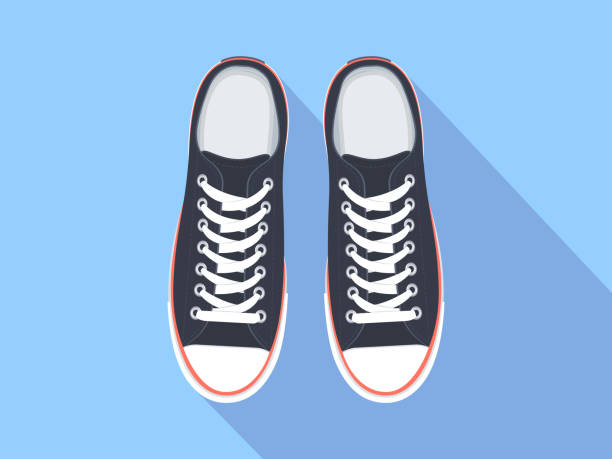 Sneakers top view Sneakers top view. Flat sport shoes vector illustration. Isolated realistic keds shoe stock illustrations