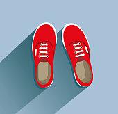 Sneakers. Sneakers in flat style. Sneakers top view. Fashion sneakers. Fashion sneakers red. Vector illustration Eps10 file