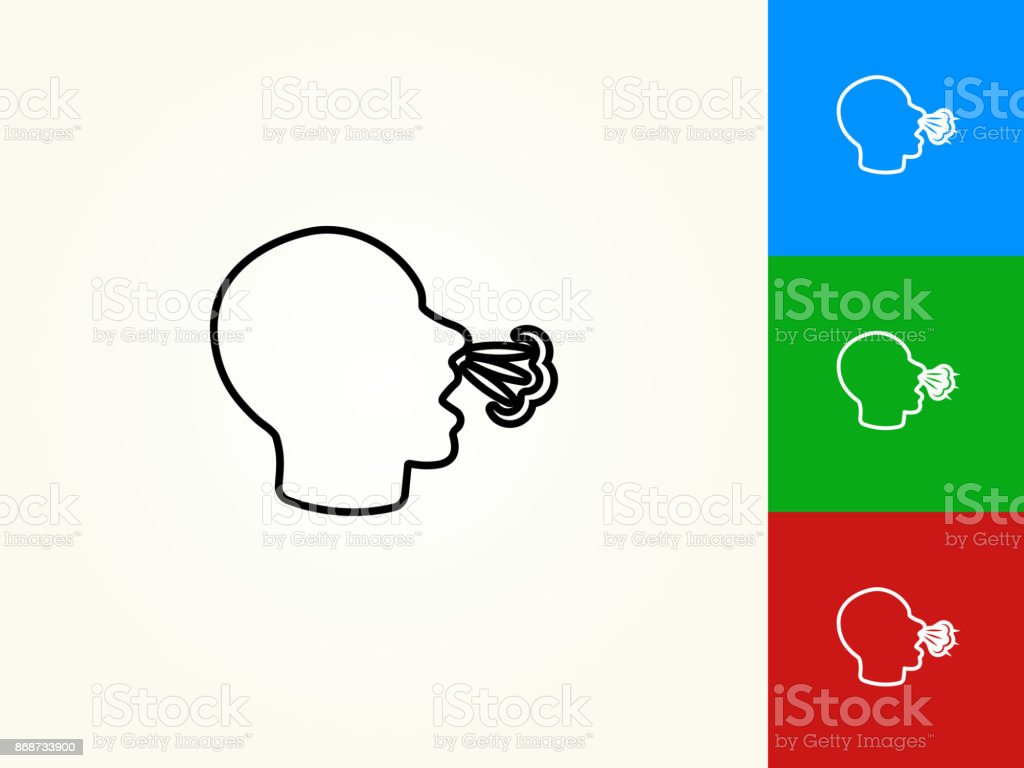 Sneeze Black Stroke Linear Icon Stock Vector Art & More Images of Allergy