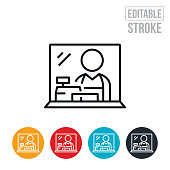 An icon of of a merchant at a cash register shielded behind a plexiglass shield. Sneeze guard shields have become more and more common in stores throughout the world during a viral pandemic. The icon includes editable strokes or outlines using the EPS vector file.