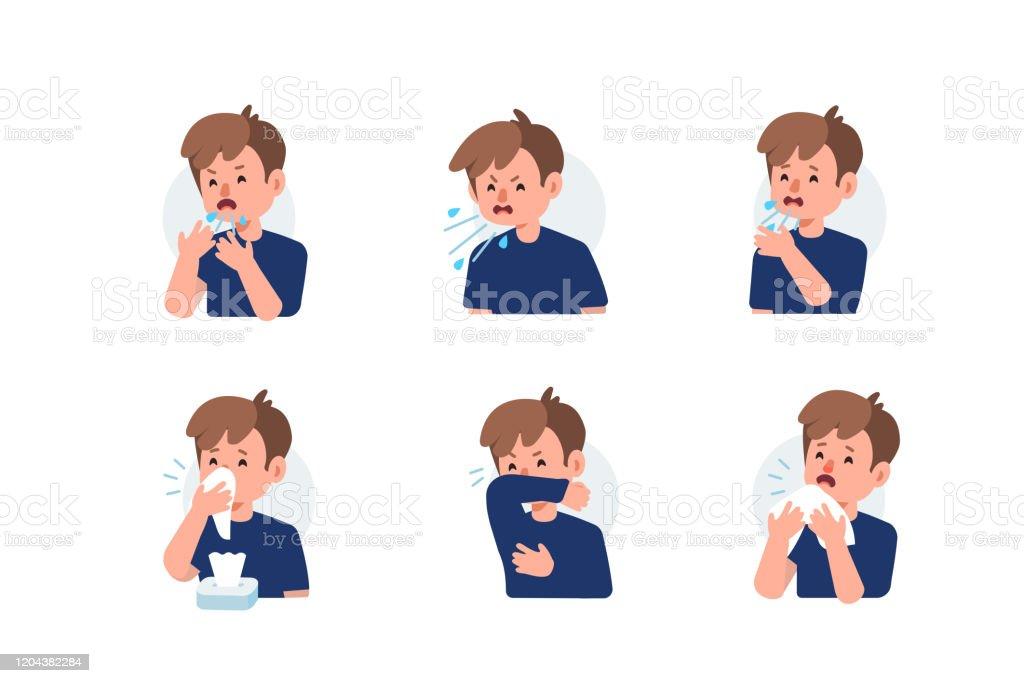 재채기 - 로열티 프리 감기와 독감 벡터 아트