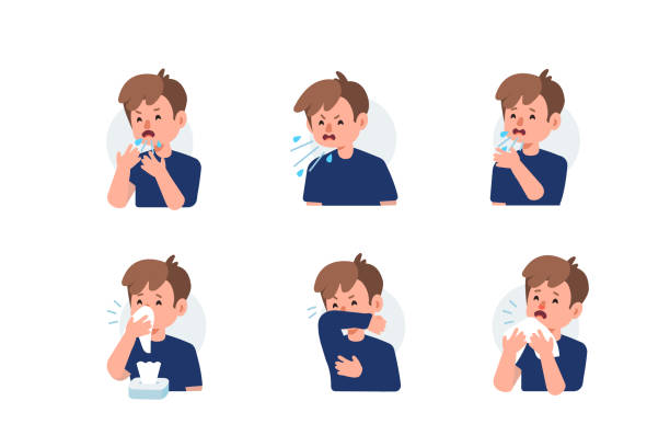 sneeze Kid Character Sneezing and Coughing Right and Wrong. Medical Recommendation How to Sneeze Properly. Prevention against Virus and Infection. Hygiene Concept.  Flat Cartoon Vector Illustration. pneumonia stock illustrations
