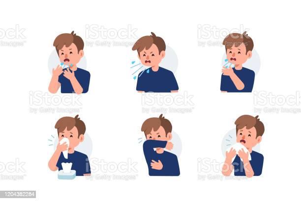 재채기 감기와 독감에 대한 스톡 벡터 아트 및 기타 이미지